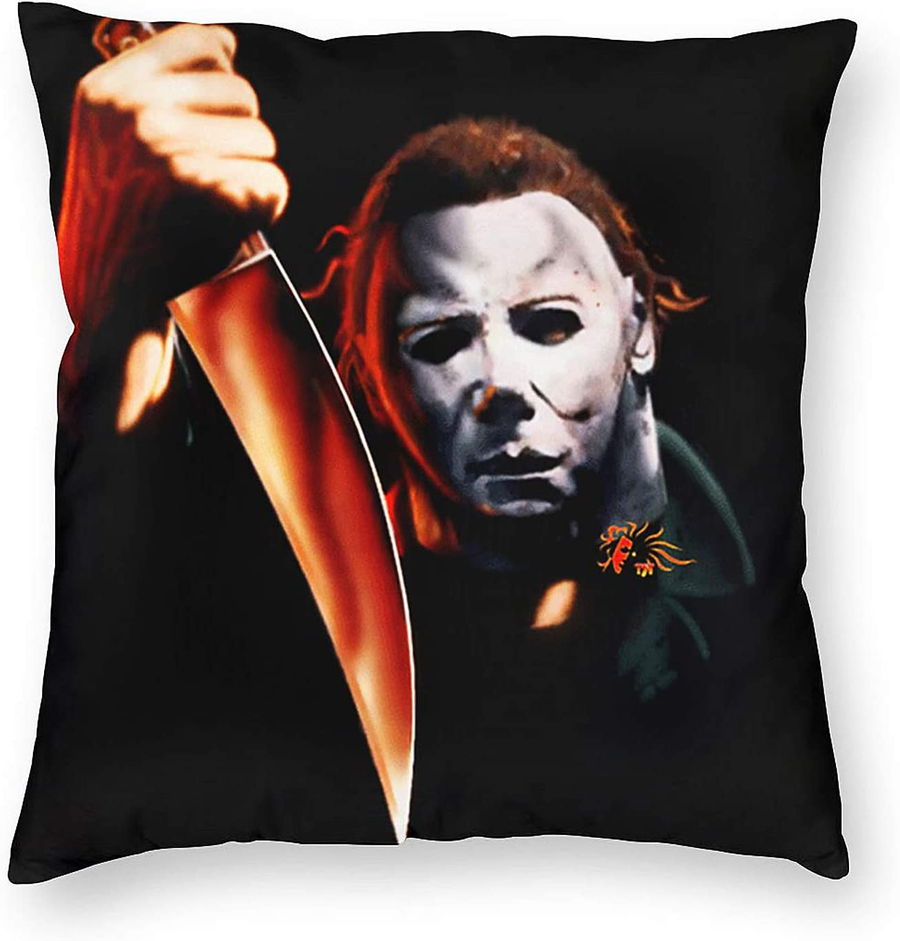 Moc.Deamiarr Michael Myers Halloween Decorations Throw Pillow Covers Cushion Cases for Couch Sofa Bed Living Room Decor 18 X 18 Inch