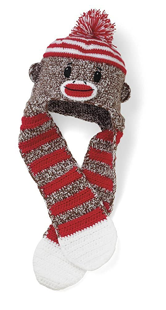 San Diego Hat Company Kid's Sock Monkey Hat & Scarf 3-6 Years
