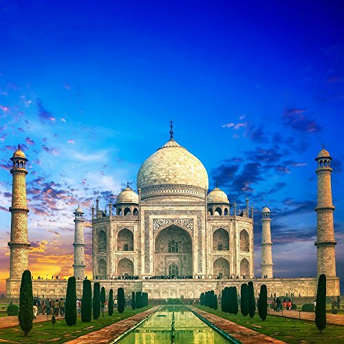 PB Taj Mahal Sunset India Unframed Canvas Painting 20 x 20inch by Pitaara Box