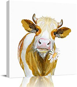 applebless Oil Painting on Canvas Yellow Cow Bite Flower Wall Art Home Decor Farm Decor Modern Pictures Painting for Living Room, Ready to Hang - 12x12 inches