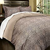 3 Piece Full Queen Leopard Print Duvet Cover Set, Luxurious Wild Animal Pattern, Safari Themed Bedding Warm Tan Color, Stylish and Rich, Khaki Brown, Microfiber Soft, African Design