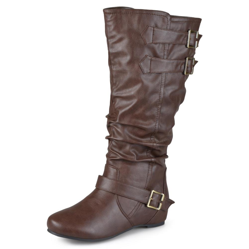 e7f477aae57 Journee Collection Womens Regular Sized, Wide-Calf and Extra Wide-Calf  Buckle Slouch Low-Wedge Boots Brown, 9 Extra Wide Calf US: Amazon.ca: Shoes  & ...