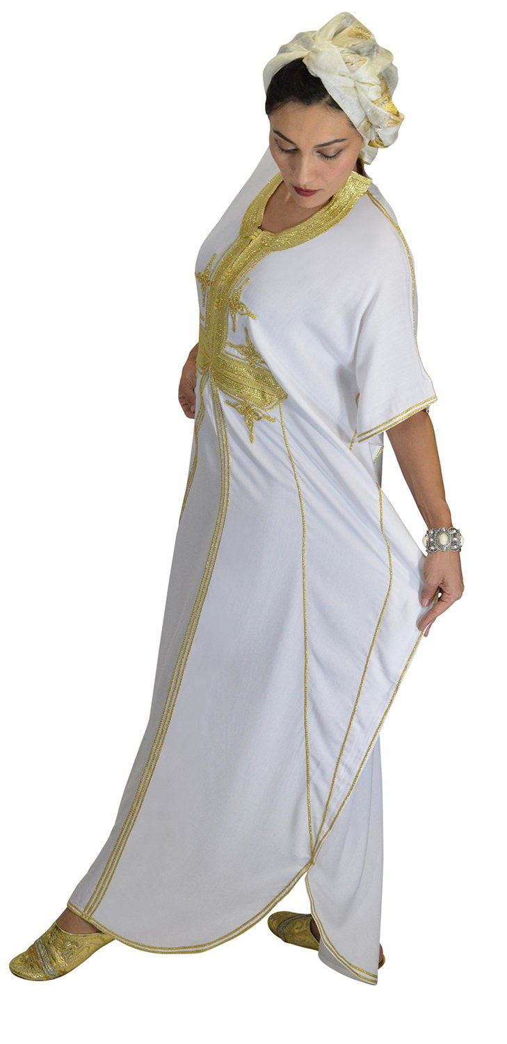 Moroccan Caftans Women Butterfly Hand Made with Gold Embroidery Long One Size White by Moroccan Caftans (Image #8)