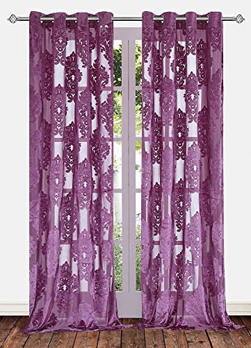 Ifblue 2-Panels 52x63-Inch Grommet Top Sheerness Velvet Cutting Flower Sheer Window Light Filtering Classic Curtains Drapes - Purple