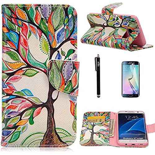 S7 Edge Case,Galaxy S7 Edge Case,HKW(TM) Colorful Tree Folio PU Leather flip wallet Case cover with Card Holder Sales