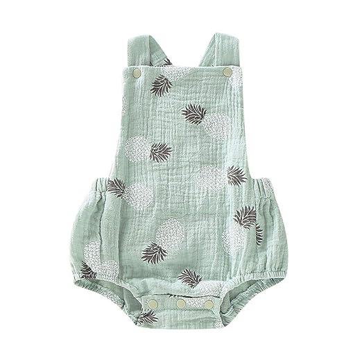 Baiomawzh Mono para bebé niños recién Nacidos Verano Monos Sin Mangas Mamelucos con Estampado Piña Pijamas Bebes niño niñas Ropa de Dormir ...