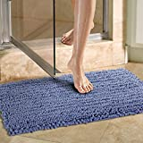 Bathroom Mats Blue Norcho Non-slip Absorbent Microfiber Bathroom Soft Bath Mat 20 inch by 31 inch Blue