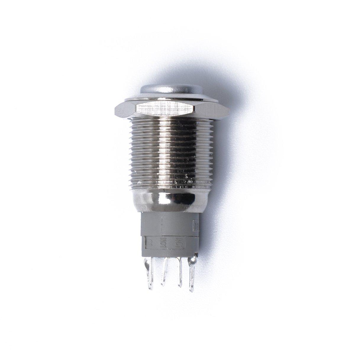 VORCOOL 12/V 16/mm LED iluminaci/ón LED Encendido//Apagado Interruptor Bot/ón De Reinicio de metal momentan/é pulsador cuerno interruptor coche barco moto DIY interruptor