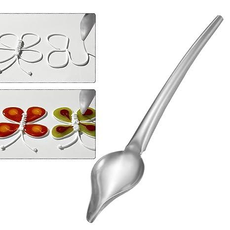 ABEDOE Cuchara de Chocolate de Acero Inoxidable, Cocina de Lápiz Salsa de Filtro Cuchara de Precisión Dibujo Kit de Revestimiento para Decoración de ...