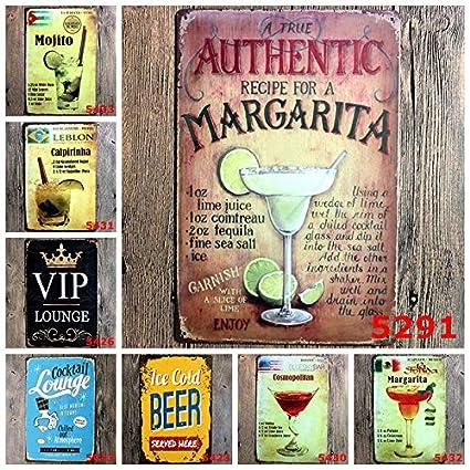 Hacoly Chapa Vintage Metal Carteles Retro Copa de Vino Vino Servir Hierro Gem/älde Bar Cafe Vintage de Cartel Restaurante Nostalgic Art Cartel de Chapa Vintage Pared decoraci/ón