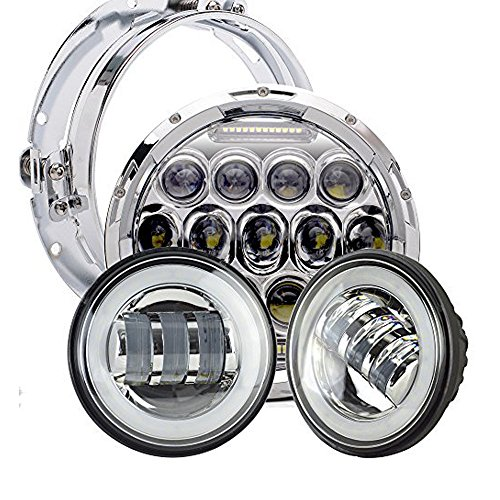 Davidson Harley Springer 1997 Heritage (AUSI DOT Approved Harley Motocycle Daymaker 7 Inch Round Hi/Lo Beam & DRL LED Headlight + 2pcs 4.5 Inch Halo Fog Lights for Harley Davidson Glide Softail Fat Boy Softail Heritage Touring Road King)
