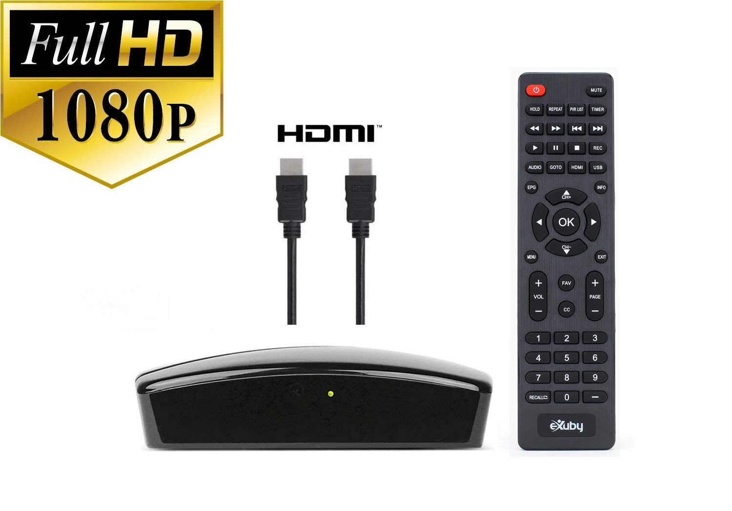 Digital TV Tuner for Viewing and Recording HD Digital Channels for Free (Instant or Scheduled Recording, 1080P HDTV, High Resolution, HDMI Output, 7 Day Program Guide) with HDMI and RCA Cable by eXuby