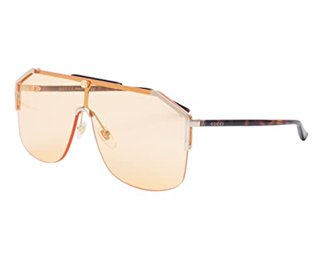 6bf25e26ac003 Image Unavailable. Image not available for. Color  GUCCI 0291 Sylvie Havana  Gold Orange Unisex Shield Sunglasses GG0291S