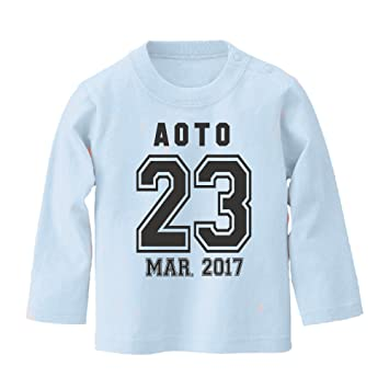 97b6b33096b49 名前入り 長袖 Tシャツ ベビーサイズ  BT438  90cm ライトブルー×ダークグレー