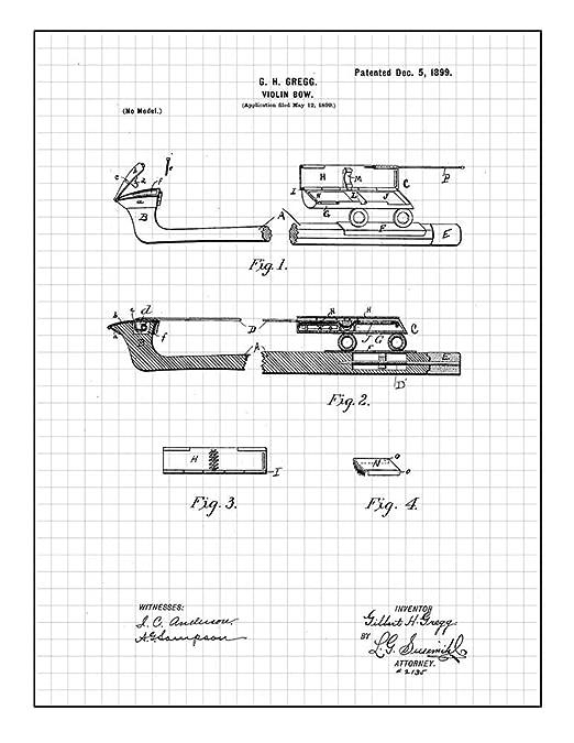 Amazon Com Violin Bow Patent Print Art Poster Red Grid 8 5 X 11