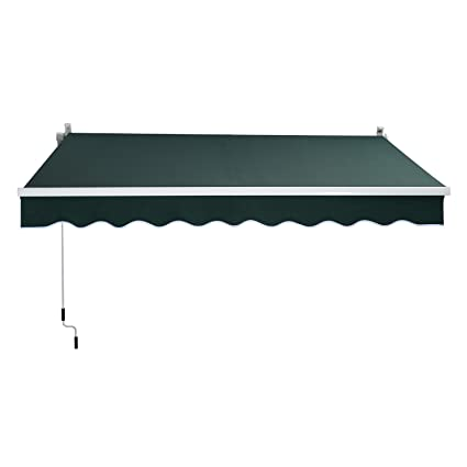 Outsunny 8u0027 X 7u0027 Manual Retractable Sun Shade Patio Awning   Green