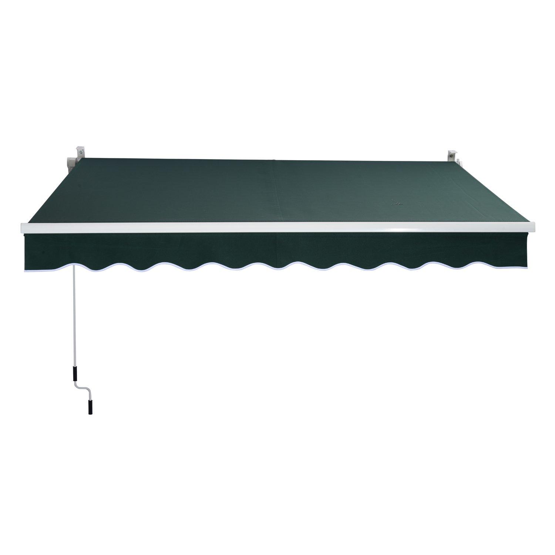 Outsunny 8' x 7' Manual Retractable Sun Shade Patio Awning - Green