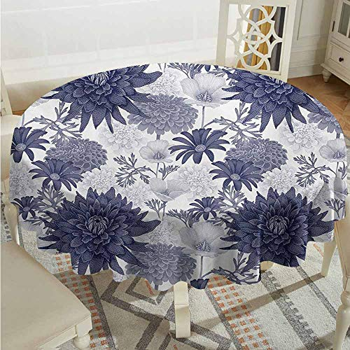 XXANS Custom Tablecloth,Dahlia Flower,Dotted Digital Paint of Dahlia Botanical Curved Rolled Wild Ray Blunts Design,for Banquet Decoration Dining Table Cover,50 INCH,Blue White