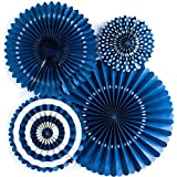 Lightingsky 4 Pcs Hanging Paper Party Fans Flowers For Wedding Home Decoration (Navy) ¡­