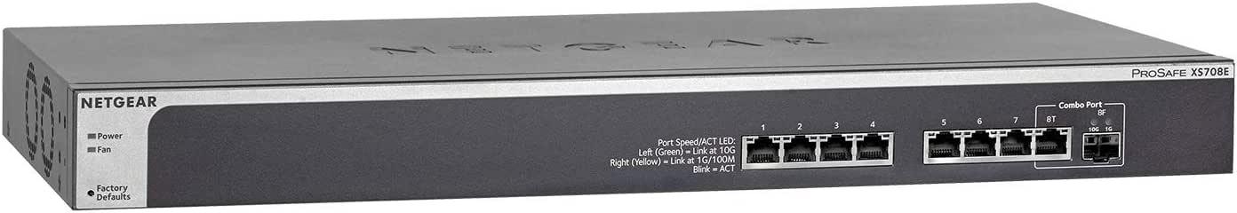 NETGEAR 8-Port 10G Ethernet Smart Managed Plus Switch (XS708E) - with 1 x 10Gigabit SFP+, Desktop/Rackmount, and ProSAFE Limited Lifetime Protection