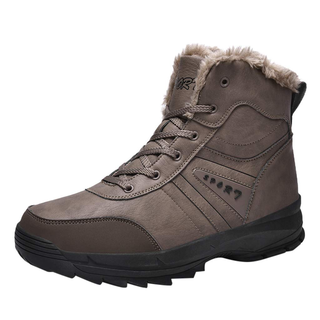 Men Snow Boots High Top Casual Non-Slip Winter Fur Warm Outdoor Ankle Shoes (US:11.5, Brown) by Suoxo Men Shoes