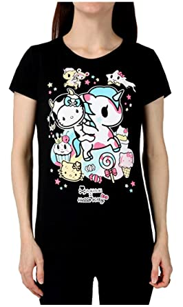 cd2ec4f316015 Tokidoki Japanese Anime Milk And Sugar Hello Kitty Women s Black T-Shirt  (Small)
