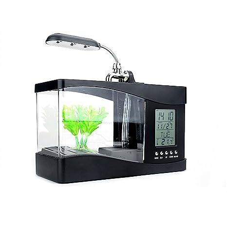 Mini reloj despertador con luz LED para decoración de escritorio, USB, para acuario,
