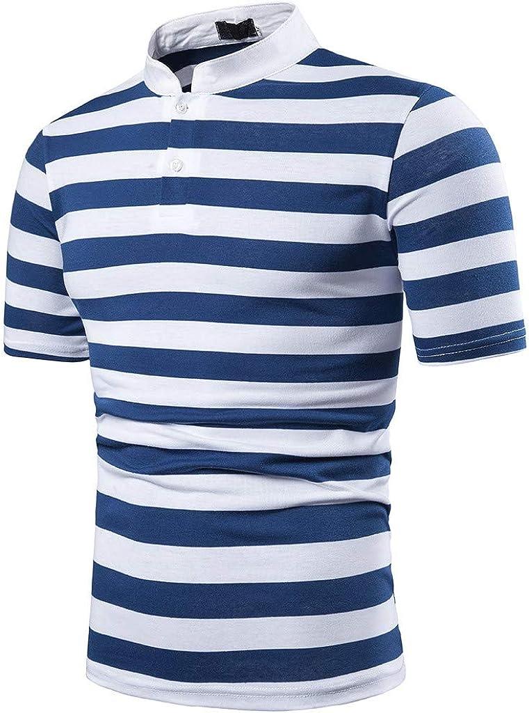 Overdose Polo Hombre Camisa Slim Fit Casual A Rayas para Hombre Camisa con Remiendo De Manga Corta Top Blusa Informal