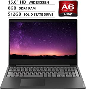 "2019 Newest Lenovo Ideapad S145 15.6"" HD TN Widescreen Laptop, AMD A6-9225 Dual-Core Processor up to 3.00GHz, 8GB RAM, 512GB Solid State Drive, HDMI, Wireless-AC, Bluetooth, Windows 10, Granite Black"