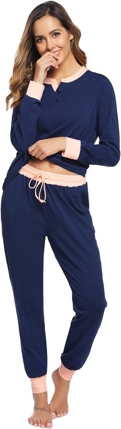 Hawiton Pijamas Mujer Invierno Manga Larga Conjunto de Pijama para Mujer Algodón Pantalones Largo Ropa de Casa Dos Piezas: Amazon.es: Ropa y accesorios