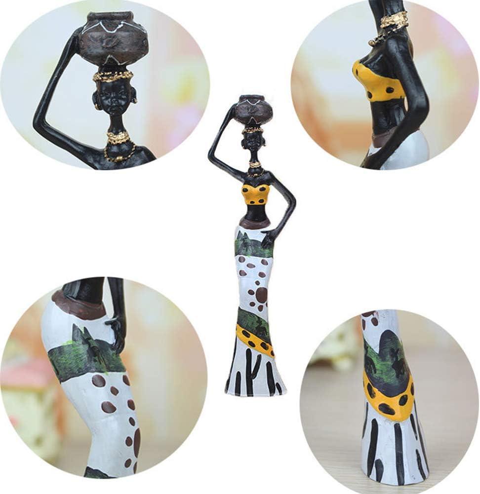 Tribal Lady Figurine Statue Decor Resin Crafts Gift Desktop Ornaments for Home Living Room Hotel Office Decoration 3 pcs//Set African Figure Women Sculpture