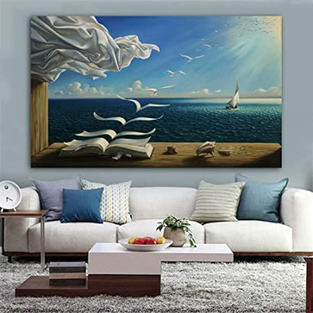 Qianlei Salvador Dali Canvas Art Poster The Sea Waves Book Sailboat Picture Canvas Painting Diary Of Discovery By Vladimir Kush Wall Art 8x14inch Amazon Co Uk Kitchen Home