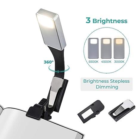Elfeland LED Leselampe Buchlampe Klemmleuchte mit 3-Farbtemperatur, Zwei Clip Stufenlos Helligkeit Leselicht Magnetische clip