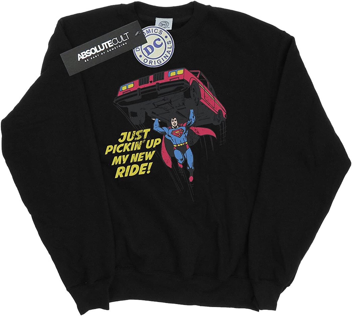 DC Comics Herren Superman New Ride Sweatshirt Schwarz