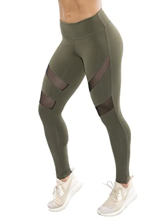 2b7a01bc0f151 J FITNESS WEAR Heather Olive Fitness MESH Leggings Women's Yoga Workout  WEAR. at Amazon Women's Clothing store: