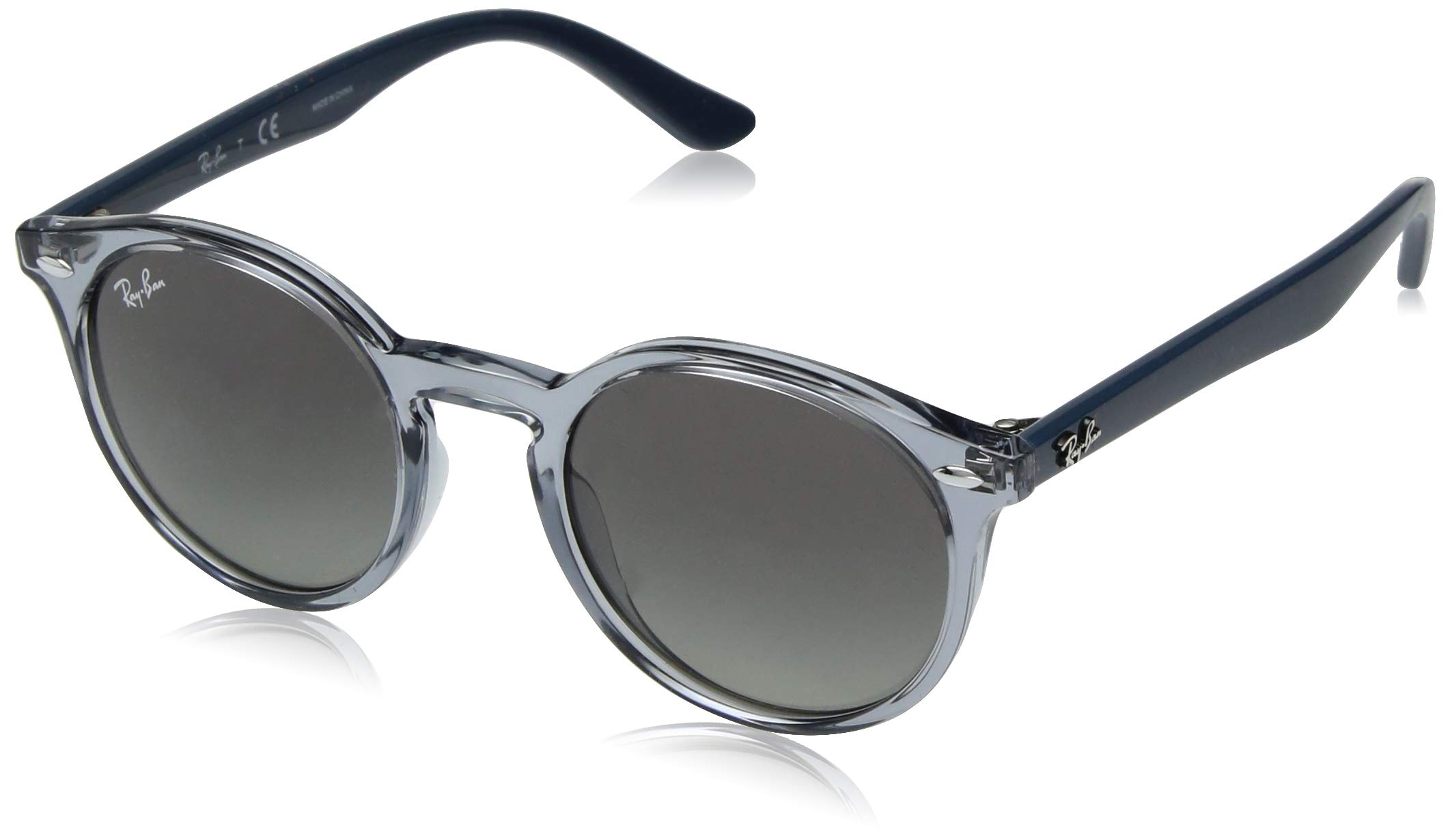 Ray-Ban Junior RJ9064S Round Kids Sunglasses, Transparent Blue/Grey Gradient, 44 mm