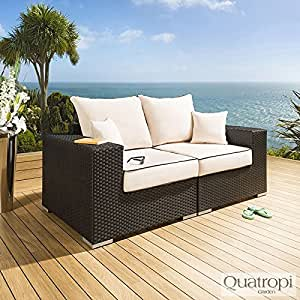 Para exteriores Quatropi o cama de matrimonio 2 para sofá negro/ratán crema 1