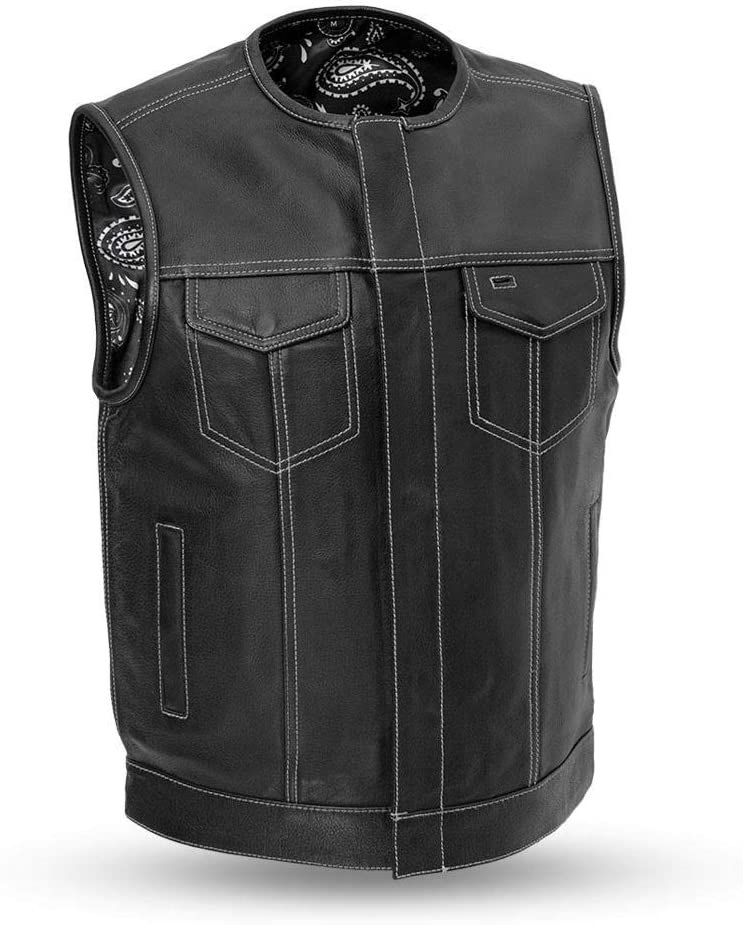 Men/'s Motorcycle Club Leather Vest Paisley Lining L Bandit