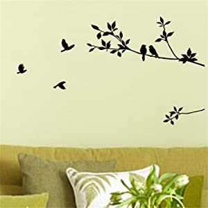 Picniva Black 17'' X 40'' Birds Flying Tree Branches Wall Sticker Vinyl Art Decal Mural Home Decor