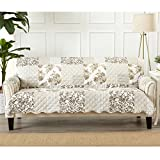 Great Bay Home Patchwork Scalloped Stain Resistant Printed Furniture Protector. By Brand. (Sofa, Taupe)