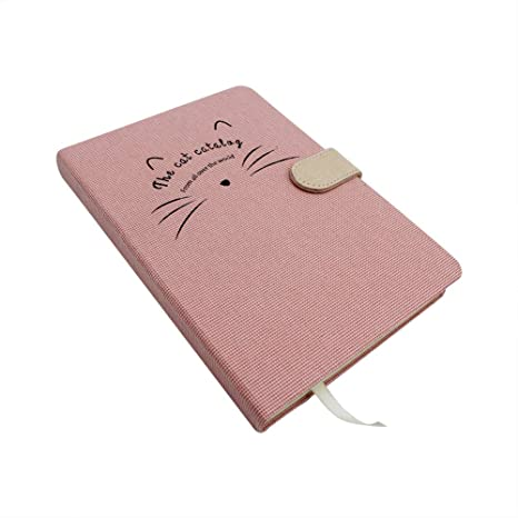 Amazon.com : Cute Cat Hard Cover Notebook Vintage Linen ...