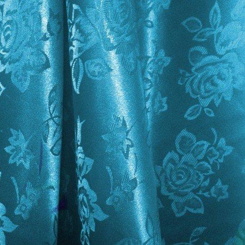 "Turquoise Floral Satin Jacquard Brocade Fabric 60"" Wide Per Yard"