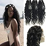 RISSING Brzailian Hair Water Wave Unprocessed Hair 8A Natural Color Pre Plucked 360 Free Part Lace Frontal Closure with Mixed Length 3 Bundles Wet and Wavy Hair Weft Extensions (22, 24, 26, & 20 inch)