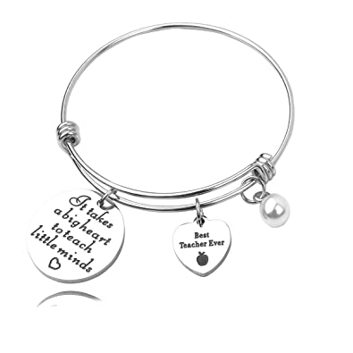 21a93ad77ccd6 REEBOOO Personalized Teacher Gift, Teacher Bracelet, Gifts for Teachers  Appreciation, It Takes a Big Heart to Teach Little Minds,Teacher Thank You  ...