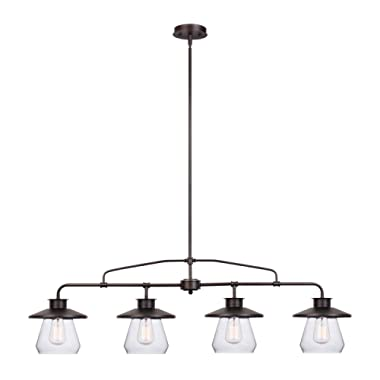 Globe Electric Angelina 4-Light Industrial Vintage Pendant, Clear Glass Shades, Oil Rubbed Bronze Finish, 65382