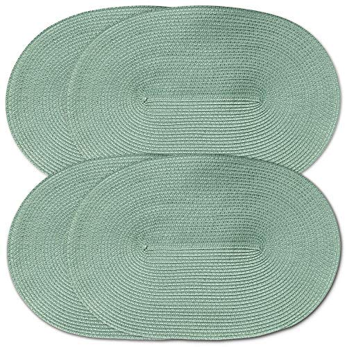 Cait Chapman Home Fashion Oval Braided Woven Polypropylene Plastic Placemats (Sage), Set of 4