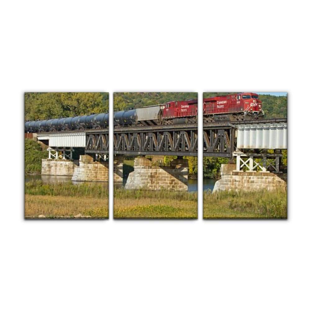 "Gracelapin Modern Canvas Painting Canadian Pacific locomotives Lead a CSX Oil Train Across Bridge Wall Art Artwork Decor Printed Oil Painting Landscape Home Office Bedroom Framed Decor (16""x24""x3pcs)"