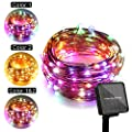 ER CHEN Solar Powered Dual-Color LED String Lights, Multicolor Changing String Lights 8 Model Waterproof Decorative Copper Wire Fairy Lights