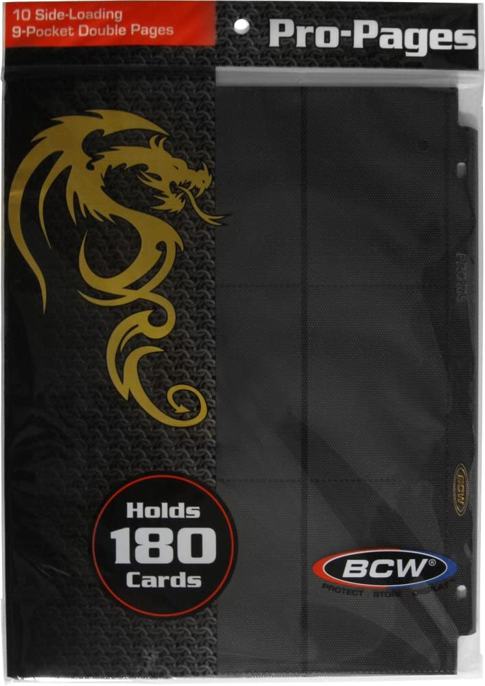 50 BCW BLACK DOUBLE SIDED 18 POCKET SIDE LOADING TRADING CARD ALBUM PAGE