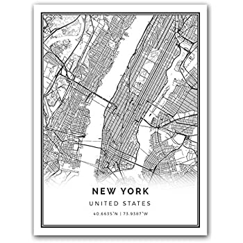 New York Map Black And White.Amazon Com New York Map Poster Print Modern Black And White Wall